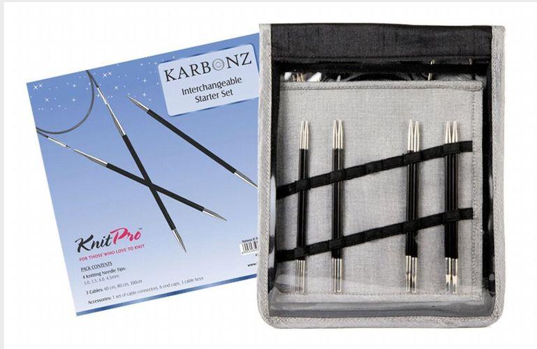 KnitPro KARBONZ Starter Set  auswechselbare Karbon Rundstricknadeln 41621