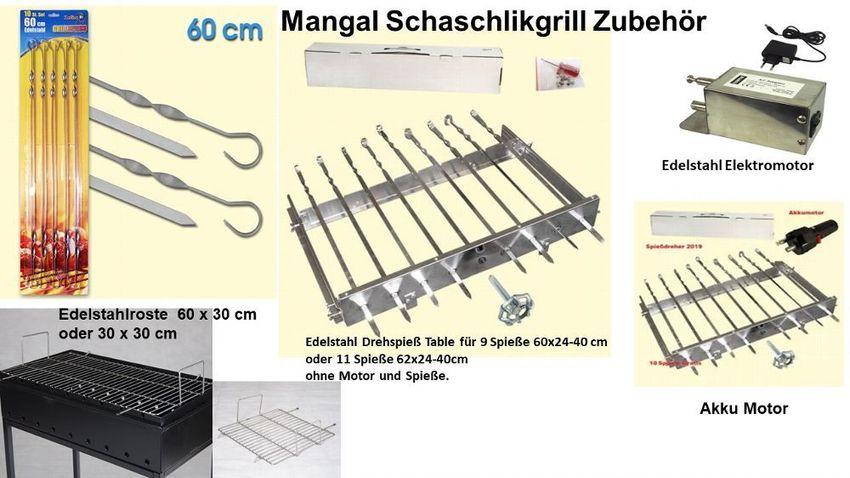 10 Spieße Edelstahl Spießdreher 9 Stück Spiessaufsatz Mangal Grill Akku Motor