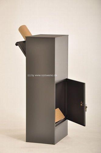 mit Montagefu/ß schwarz Allux 800 Paketbriefkasten anthrazit Entnahme hinten