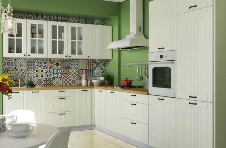 neue Küche Küchenzeile Landhaus Lamelle weiß Eckküche Küchenblock  Landhausküche