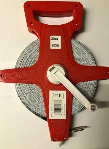 Rollbandmaß 50m mit Griff Aufroller Maßband Bandmaß Rollmeter Band Messen 50 m