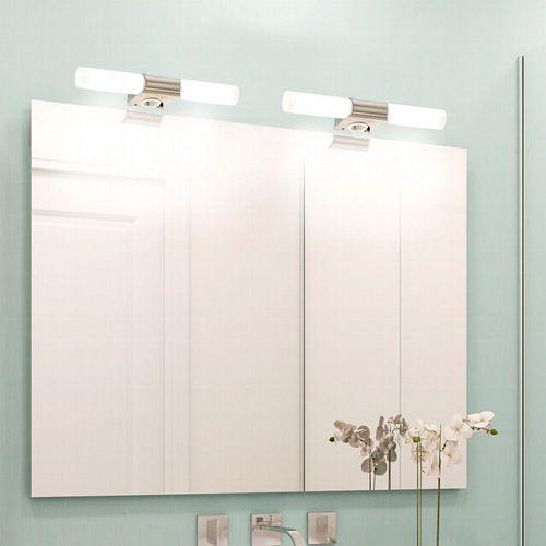 LED Wandlampe Spiegel-Leuchte Badezimmer Metall Glas E14 Bad-Lampe mit  Steckdose
