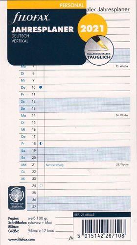 Jahresplaner deutsch vertikal 2021 Filofax 21-68445 Personal