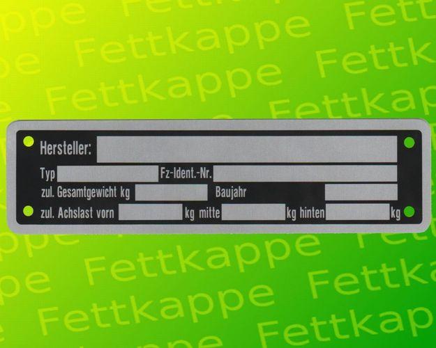 Blanko Typenschild Anhängertypenschild Neutral Anhänger Typ 4