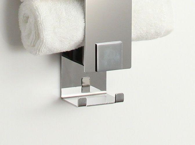 Handtuchhalter für Gästetücher mit Haken  Edelstahl poliert  Made in Germany