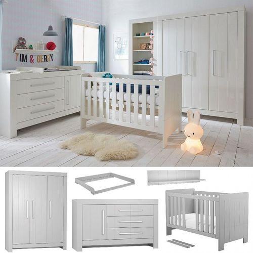 Babyzimmer Kinderzimmer Set Komplett Cannes Weiss Grau Schrank