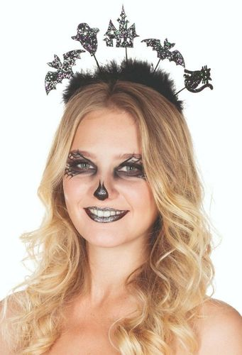 Fledermaus Haarreifen mit Glitzer Halloween Karneval Fasching Kostüm Accessoire