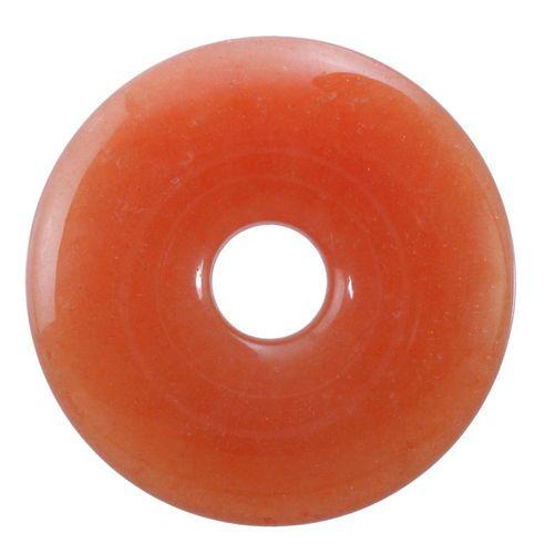 Aventurin rot Donut Anhänger Edelstein 30 mm Scheibenstein Pi Stein Heilstein