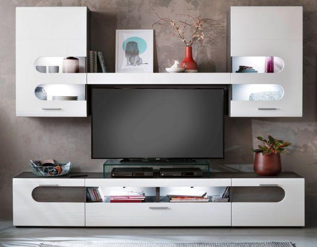 Wohnwand Hochglanz weiß und Sardegna grau Schrankwand 240 cm Wohnzimmer  Möbel Bolero