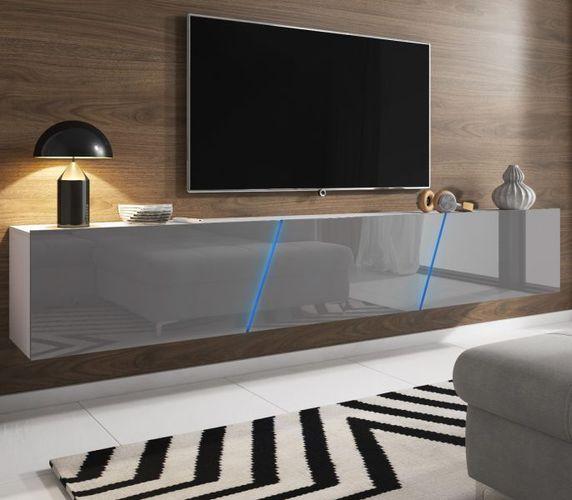 TV-Lowboard grau Hochglanz Lack weiß Hängend / Stehend XXL Board Space MIT  LED