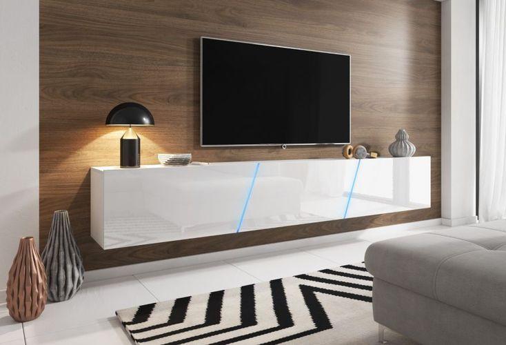 TV-Lowboard Weiß Hochglanz Lack Hängend / Stehend XXL Board Space mit LED  240 cm