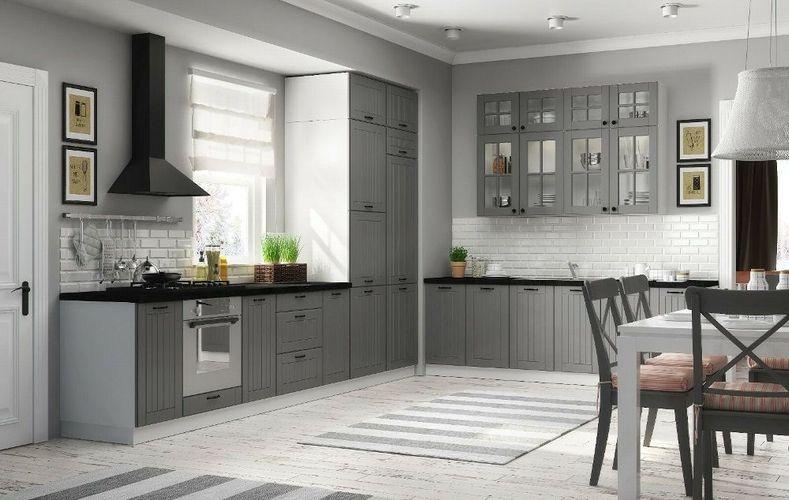 Landhaus Küche LORA Küchenzeile 320 cm im Landhausstil weiß, beige oder grau