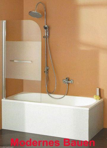 weiß silber-eloxiert BREUER Badewannenaufsatz Badewannenduschwand 5-teilig