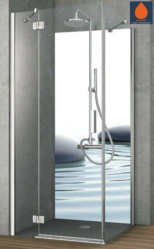 Eck Duschrückwand Rückwand Dusche Alu Fliesenersatz ZEN Steine Wasser Motiv