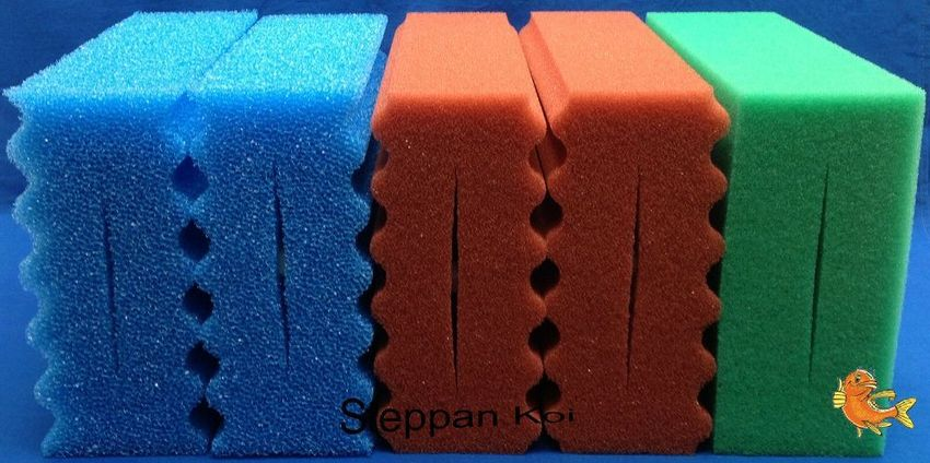 4  x  Rot Blau u Grün Filterschwamm passend für Oase BioSmart  Koi Filter