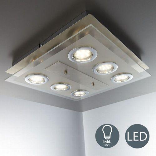 LED Deckenleuchte Schlafzimmer Metall Glas eckig 6x GU10 Decken-Lampe  Leuchte