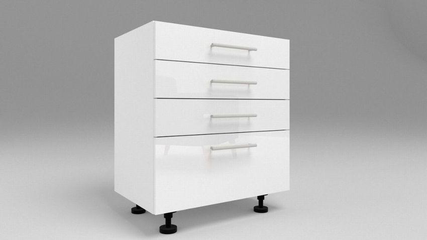 Küchen Unterschrank mit 4 Schubladen Weiß Hochglanz , Matt ...