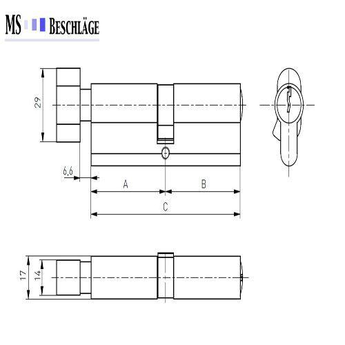 Knaufzylinder Türschloss Profilzylinder mit Knopf Knopfzylinder Schliesszylinder