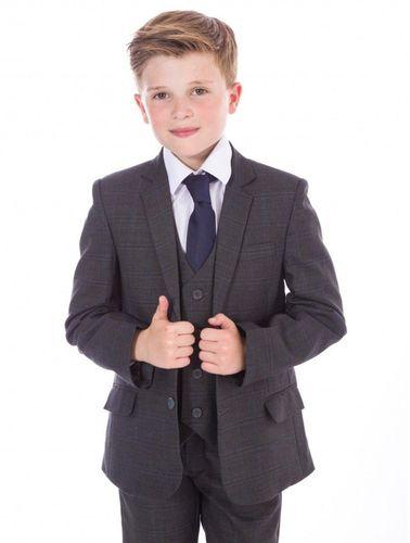 Festlicher Kinder Jungen Anzug 5tlg Kommunionsanzug Smoking Hochzeitsanzug grau