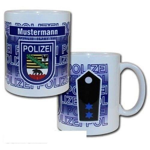 """Dienstgrad Tasse Polizei /""""Sachsen-Anhalt/"""" wählbarer Dienstgrad /& Namensfeld"""