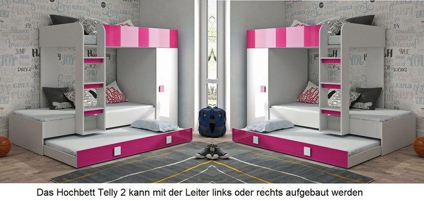 Hochbett Etagenbett Mit Schrank Telly 2 Fur 2 3 Kinder Hochglanz Weiss Grau Rosa Kaufen Bei Hood De