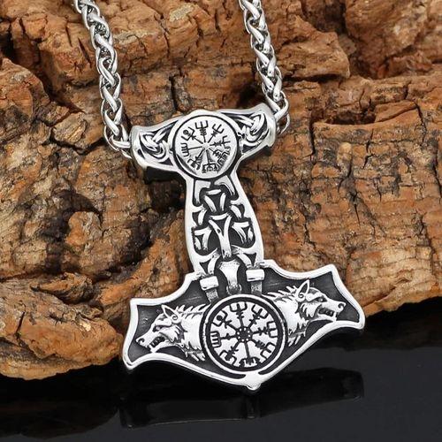 Viking Kette Wolf Halskette Thor Hammer Wikinger Fenris Anhänger aus Edelstahl