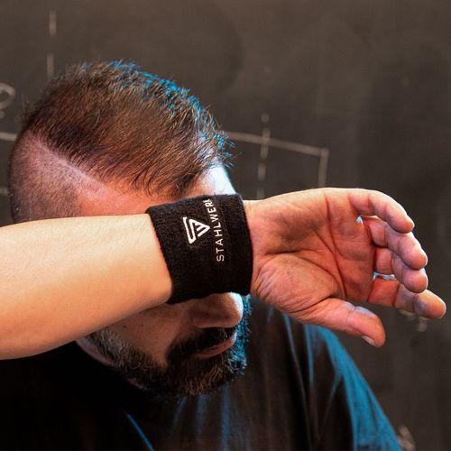 STAHLWERK Schweißbänder Armbänder 4er Set Sport Gym Fitnessband schwarz