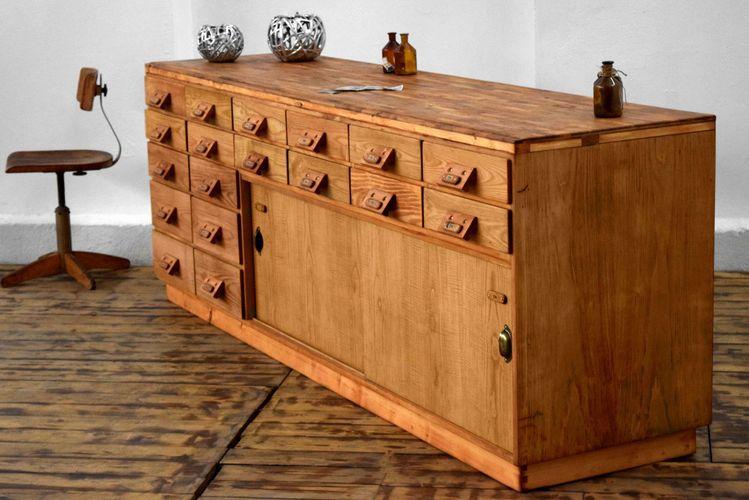 Vitrinenschrank Loft Kommode Anrichte Bauhaus Sideboard Vintage Apothekerkommode