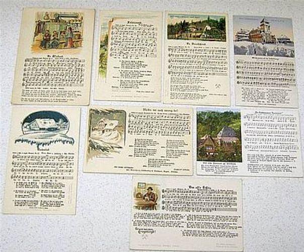 Historische Postkarte 8 Spruch Postkarten Gedichte Musik Erzgebirge Dialekt