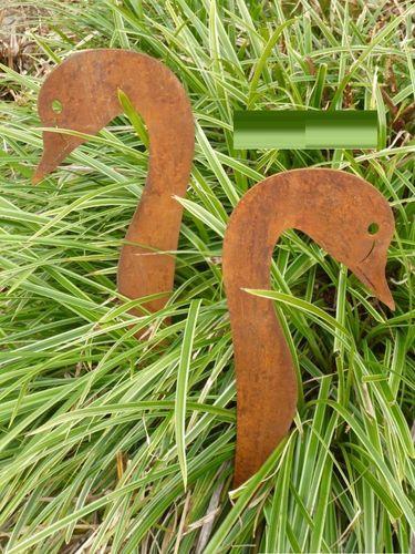 Gans Gartendeko Metall Edelrost Stecker