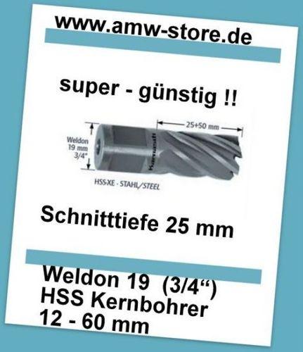 HSS Kernbohrer Weldon 13 mm Schnitttiefe 25mm HSS XE Kernlochbohrer
