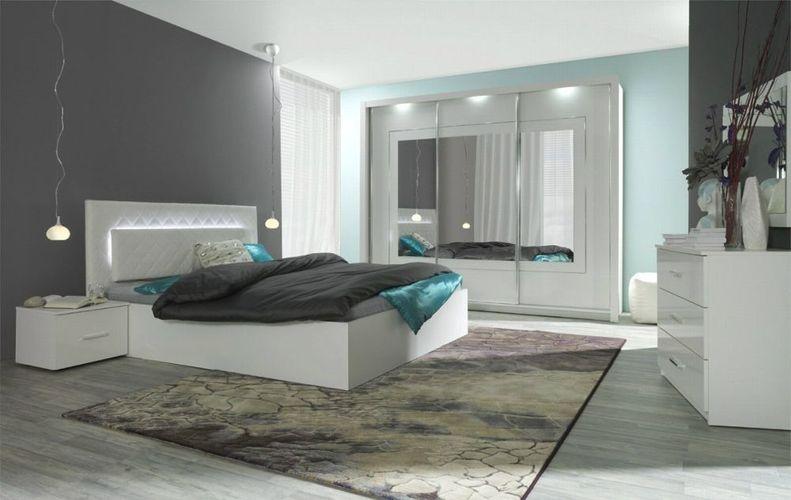 Komplett Schlafzimmer Hochglanz Weiß mit LED Bett, Schrank, 2 x Nako