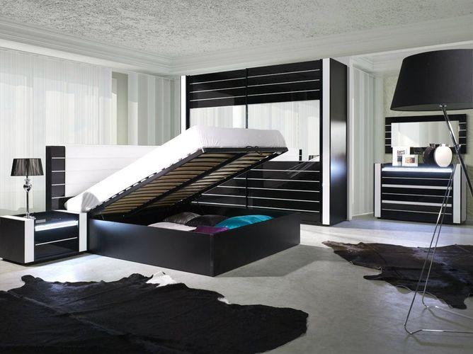 Schlafzimmer Komplett Linn Hochglanz Schwarz Weiß mit LED Bett, Schrank, 2  x Nako