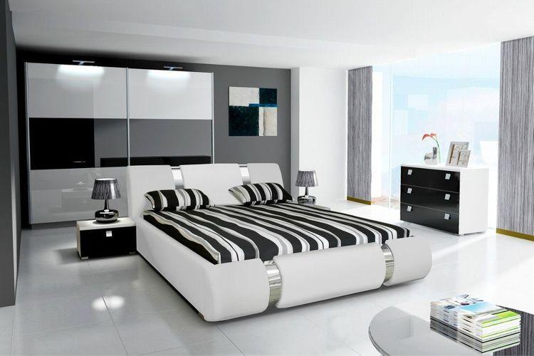 Schlafzimmer Komplett Novalis II Hochglanz weiss schwarz