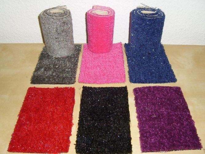 Teppichboden Flauschvelour mit Glitzer Shaggy in grau 400 cm Breite 9,95 €//qm