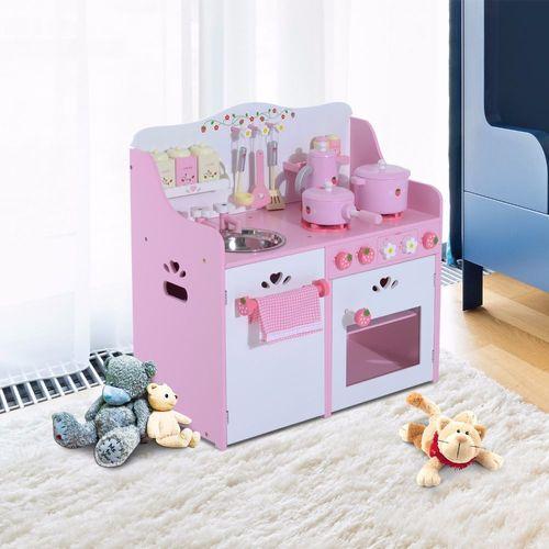 Homcom® Kinderküche Spielküche Spielzeugküche Kinderspielküche mit Zubehör  rosa MDF