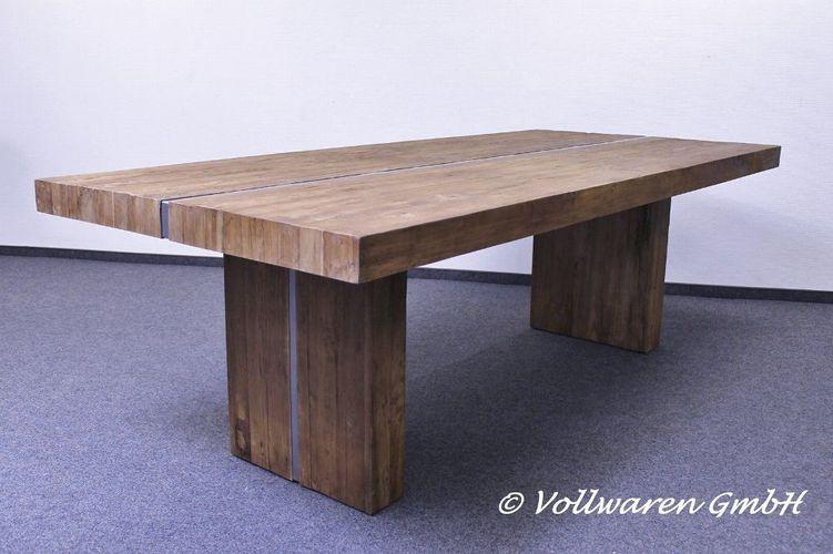 TEAK Esstisch Monolith STRIP Teakholz antik massiv 240cm Wangentisch Tisch kaufen bei Hood.de
